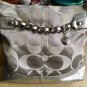 Coach Signature Sateen Chain Duffle Crossbody!